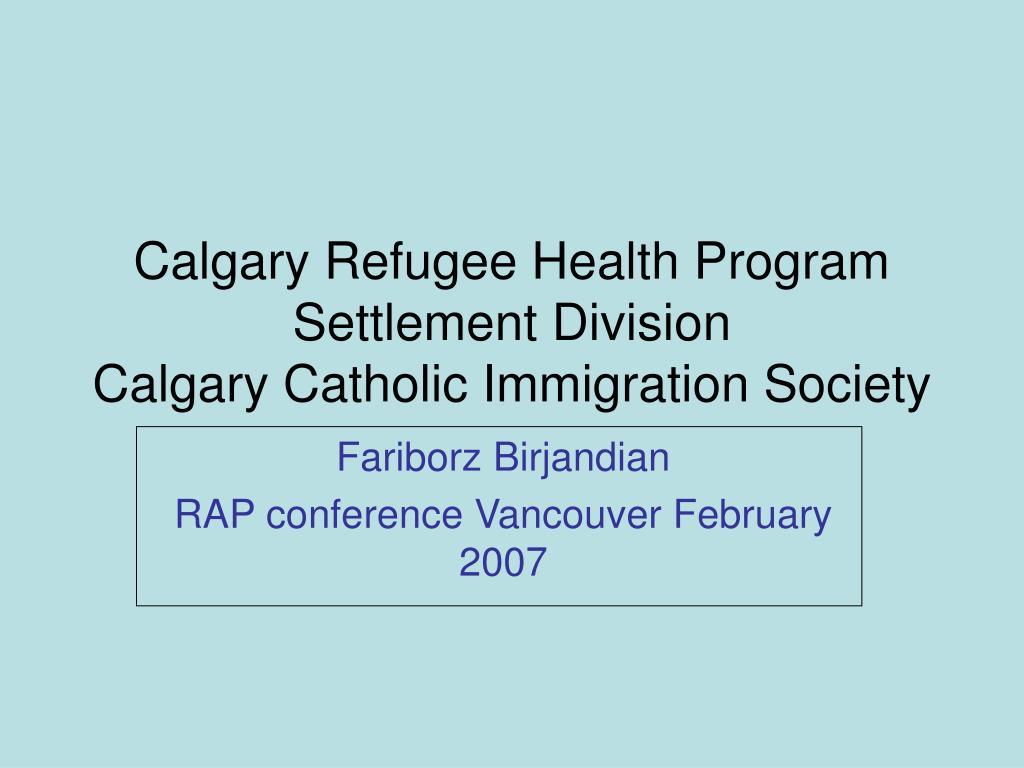Calgary Refugee Health Program