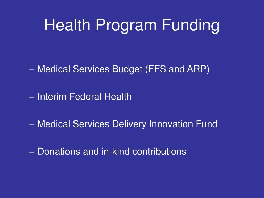 Health Program Funding
