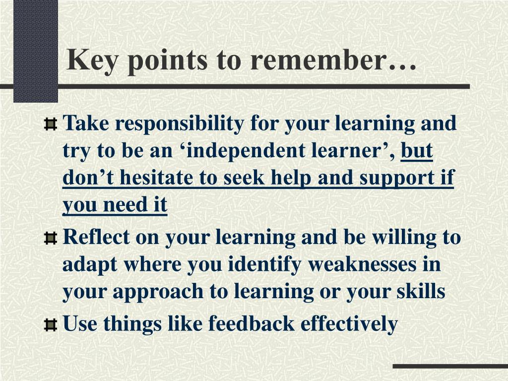 Key points to remember…