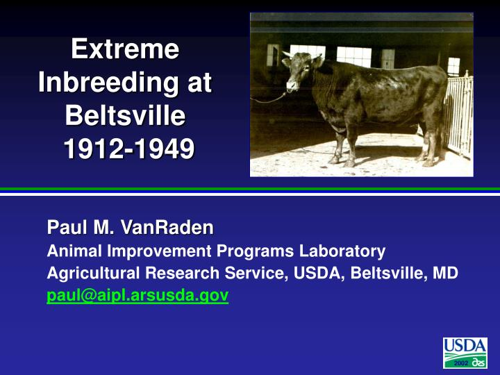 extreme inbreeding at beltsville 1912 1949