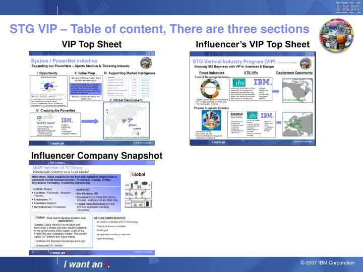 Stg vip table of content there are three sections