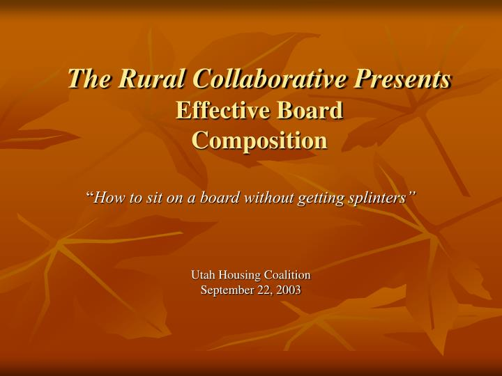 the rural collaborative presents effective board composition