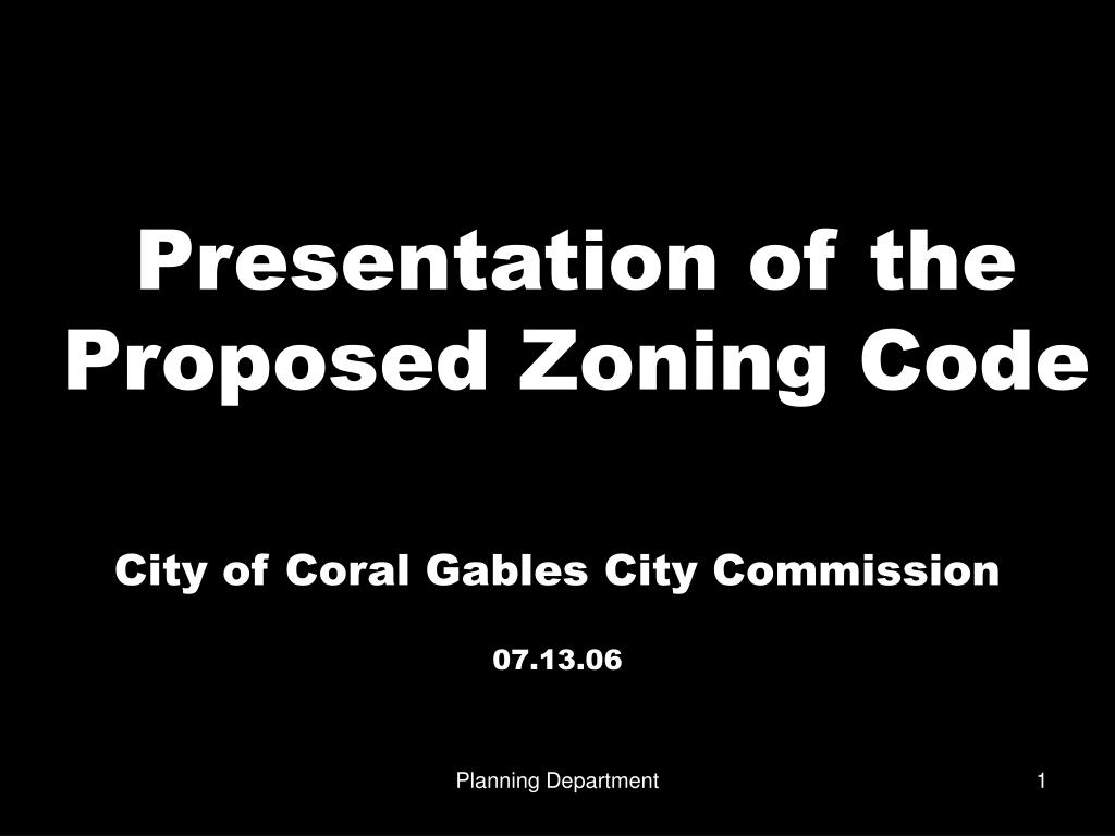 presentation of the proposed zoning code l.