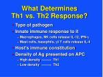 what determines th1 vs th2 response