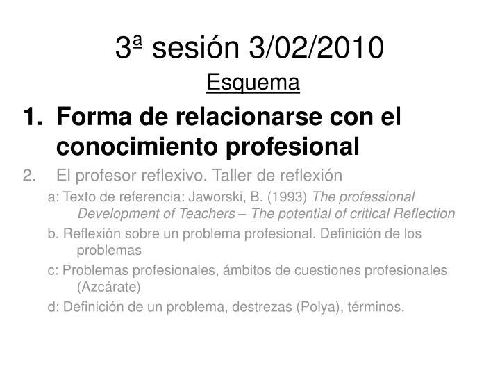 3ª sesión 3/02/2010
