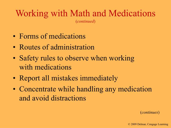 Working with Math and Medications