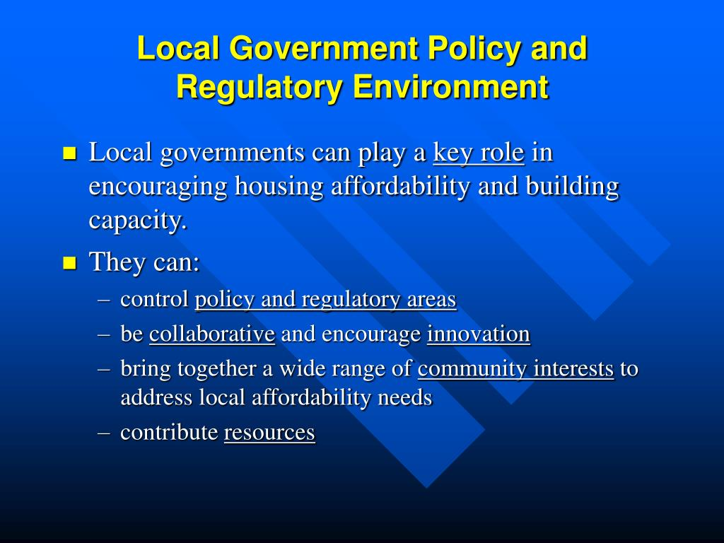 local government policy and regulatory environment l.