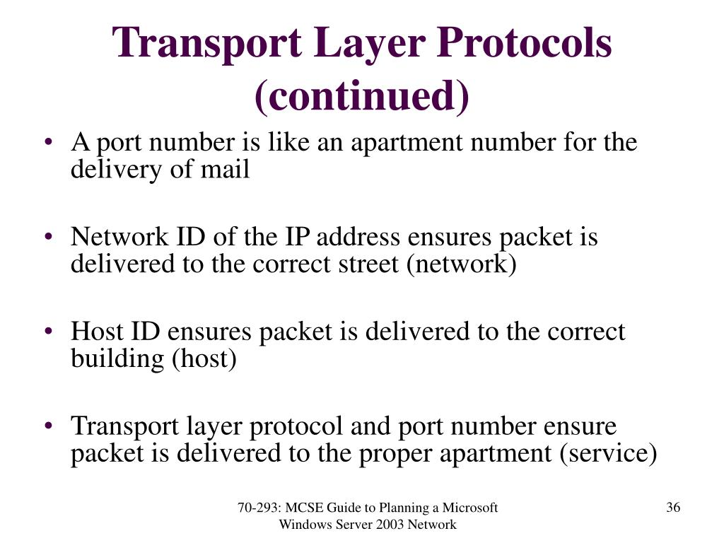 Transport Layer Protocols (continued)