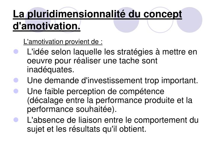 La pluridimensionnalité du concept d'amotivation.