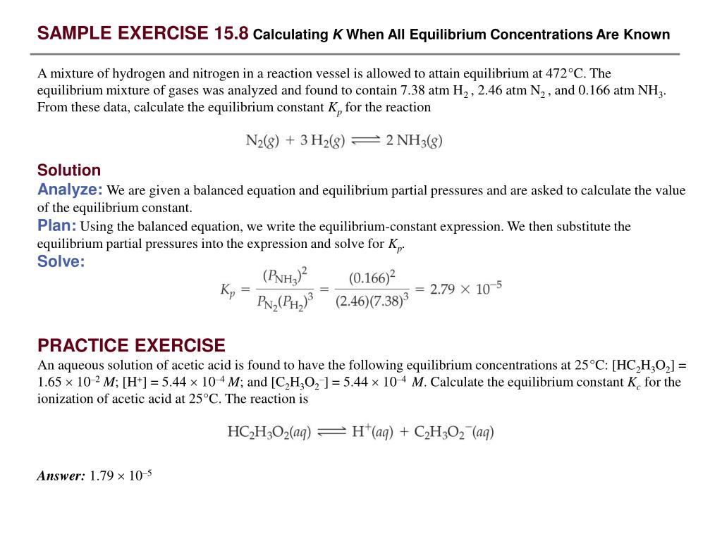 PPT - SAMPLE EXERCISE 15 1 Writing Equilibrium-Constant