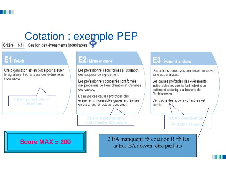 Cotation : exemple PEP