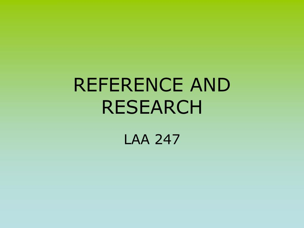 research and referencing