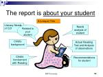 the report is about your student