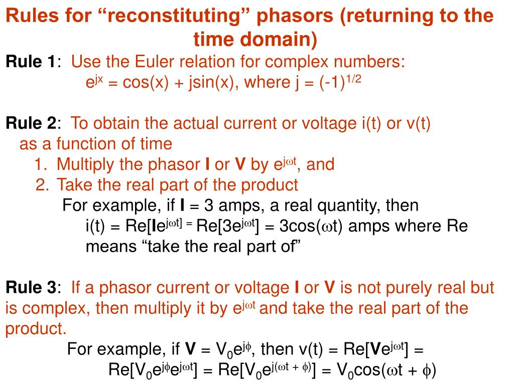 "Rules for ""reconstituting"" phasors (returning to the"