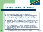 focus on reform in tanzania