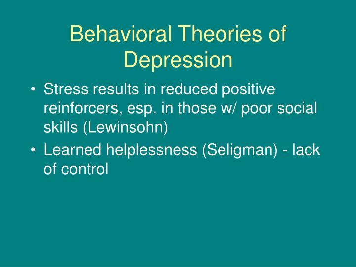 Behavioral theories of depression