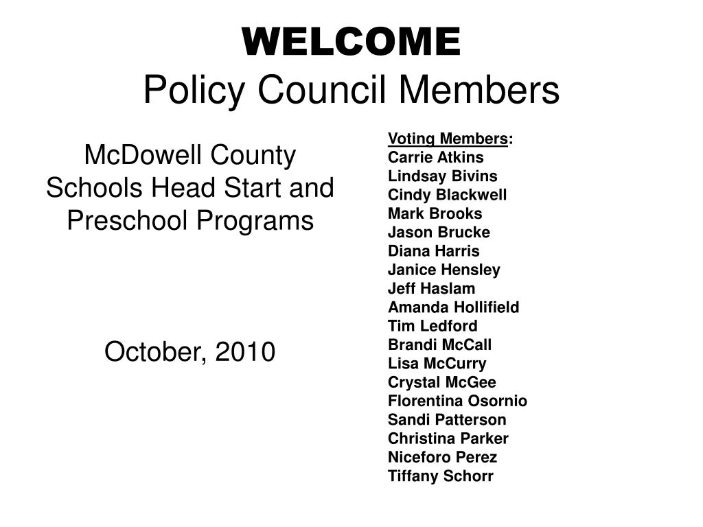 welcome policy council members l.