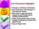 q a document highlights
