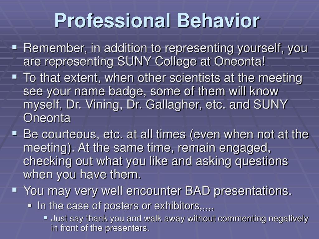 Professional Behavior