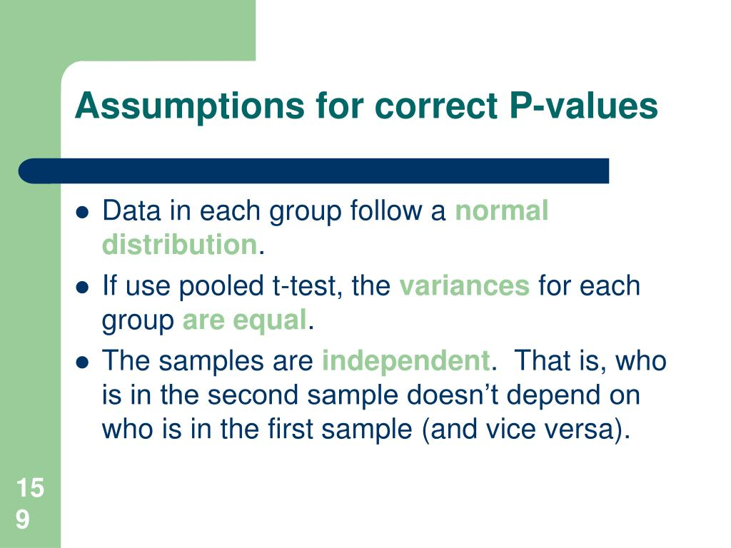 Assumptions for correct P-values