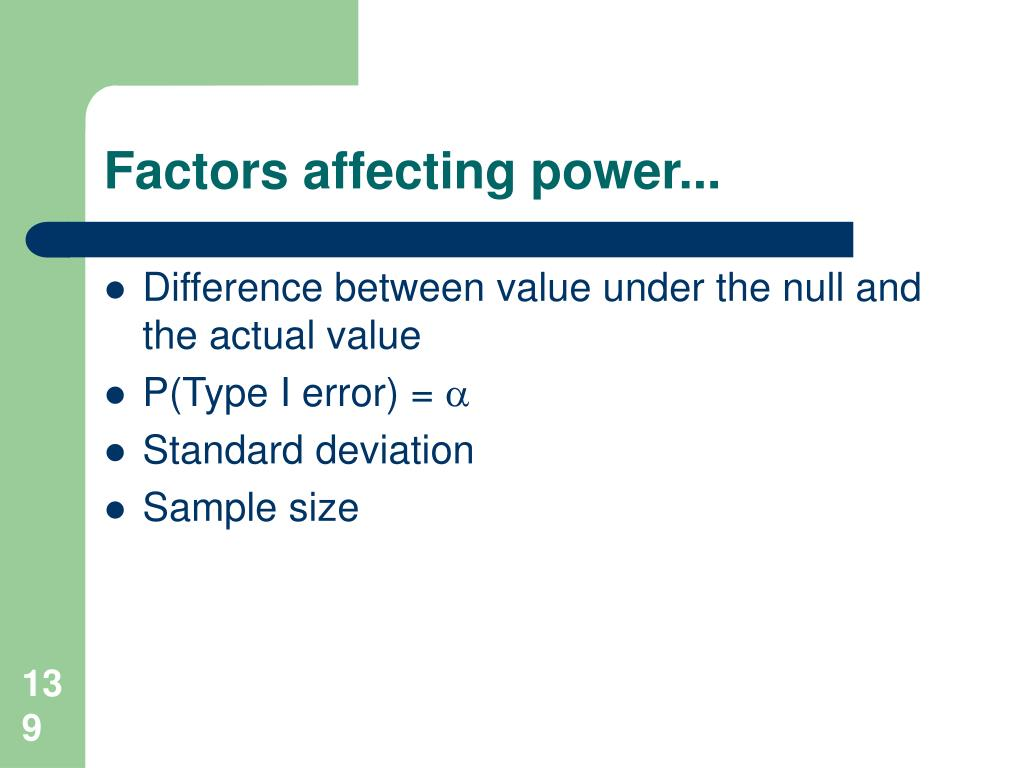 Factors affecting power...
