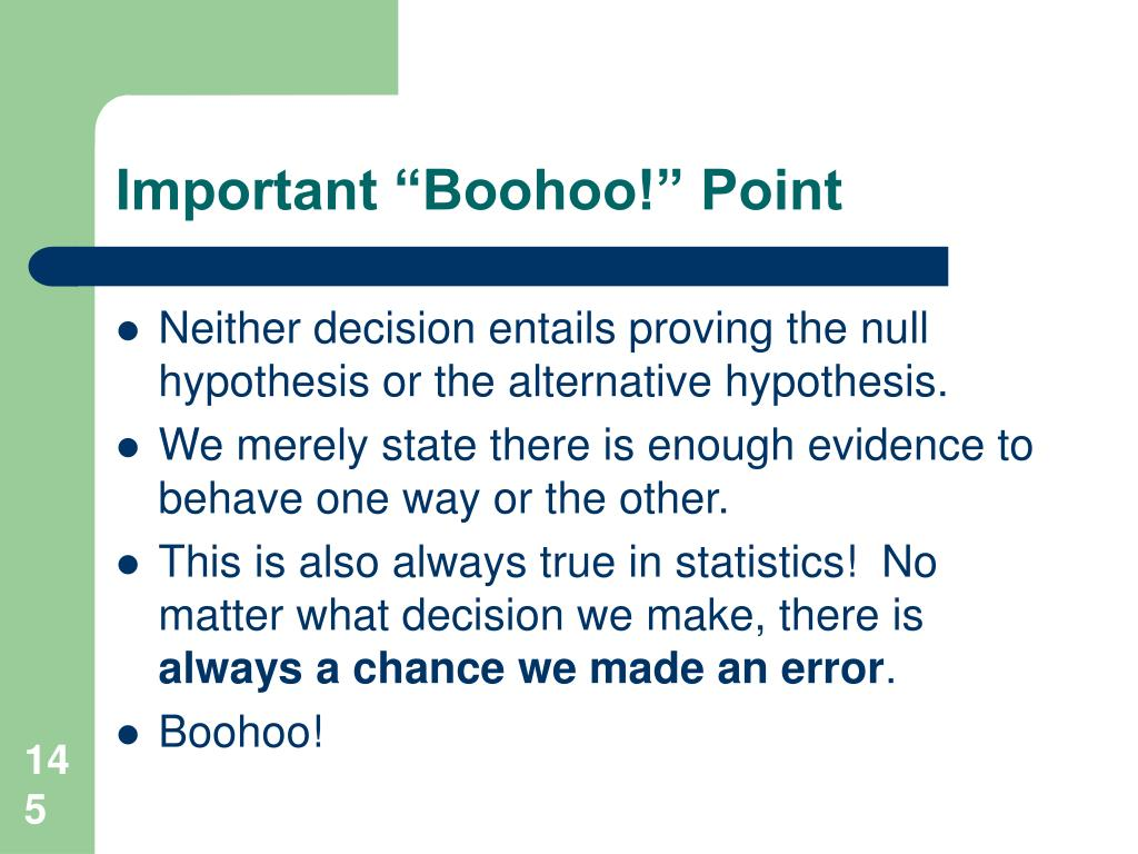 "Important ""Boohoo!"" Point"