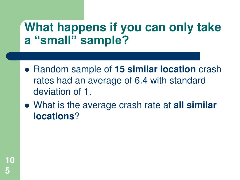 "What happens if you can only take a ""small"" sample?"