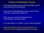 content of hollaender courses