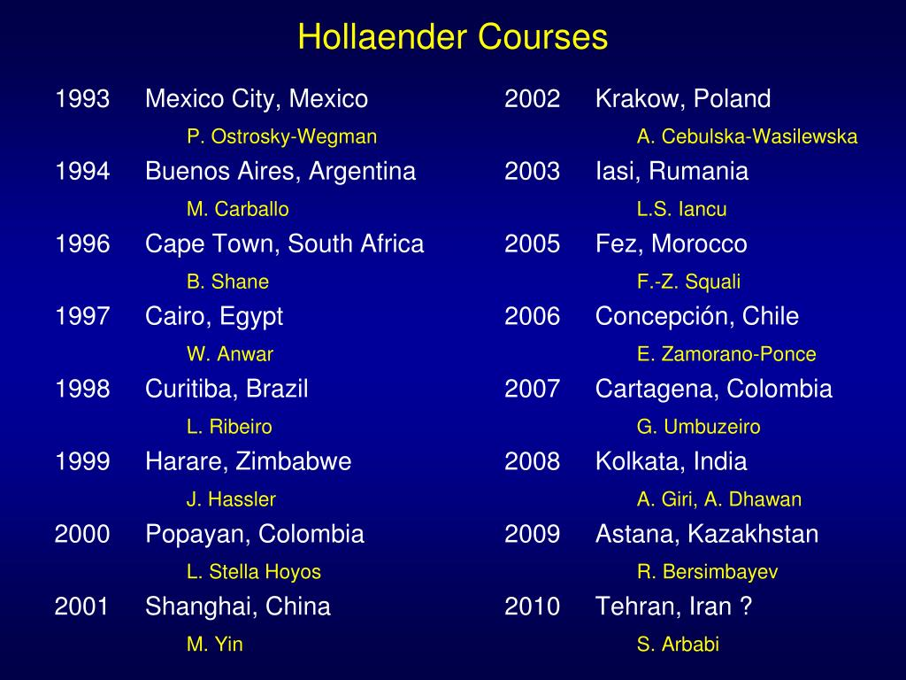 Hollaender Courses