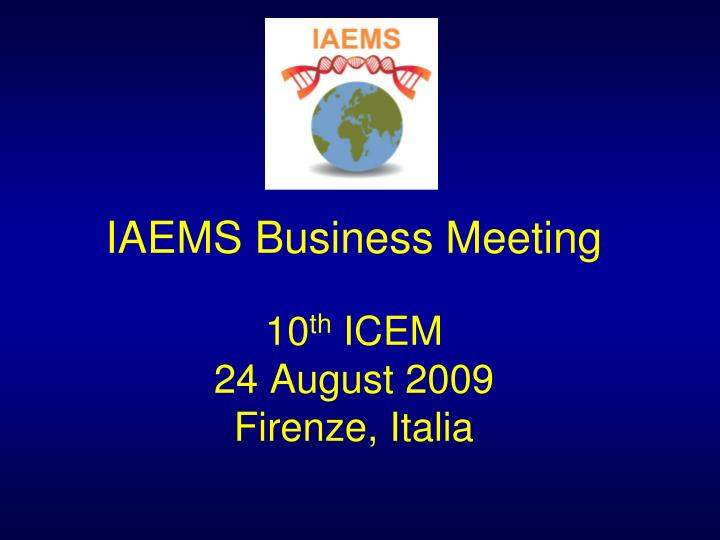 Iaems business meeting 10 th icem 24 august 2009 firenze italia