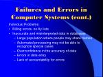 failures and errors in computer systems cont