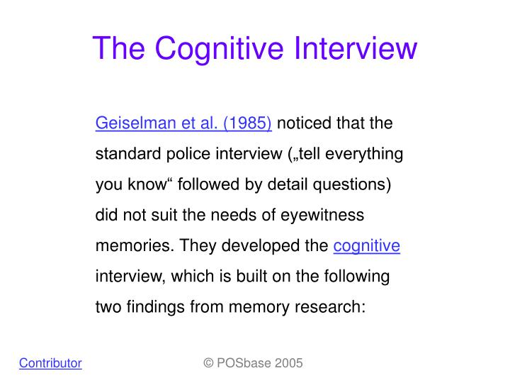 the cognitive interview n.