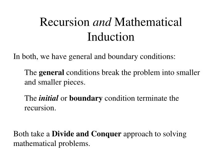 Recursion and mathematical induction