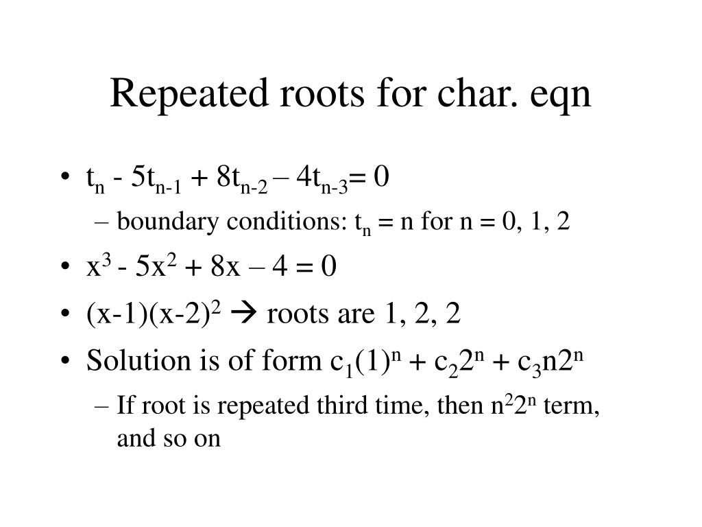 Repeated roots for char. eqn