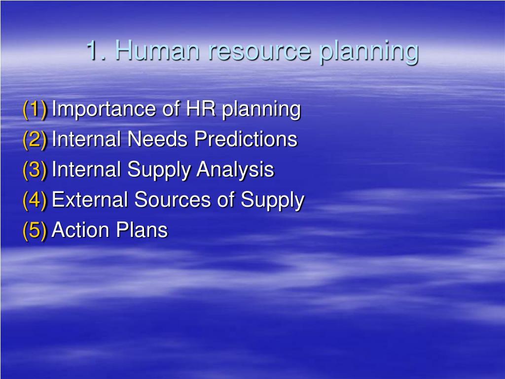 1. Human resource planning