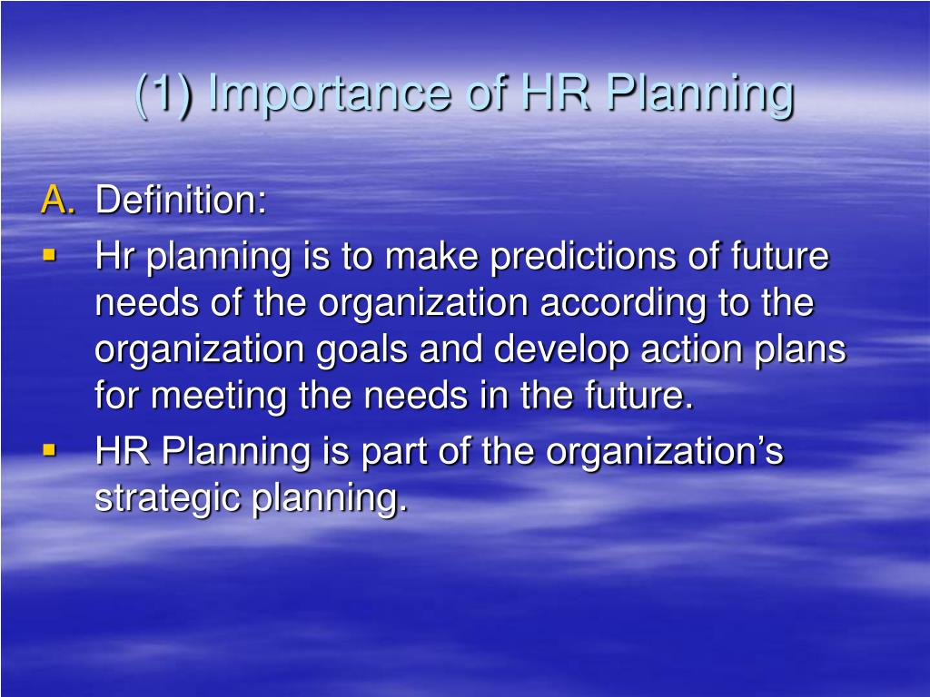 (1) Importance of HR Planning