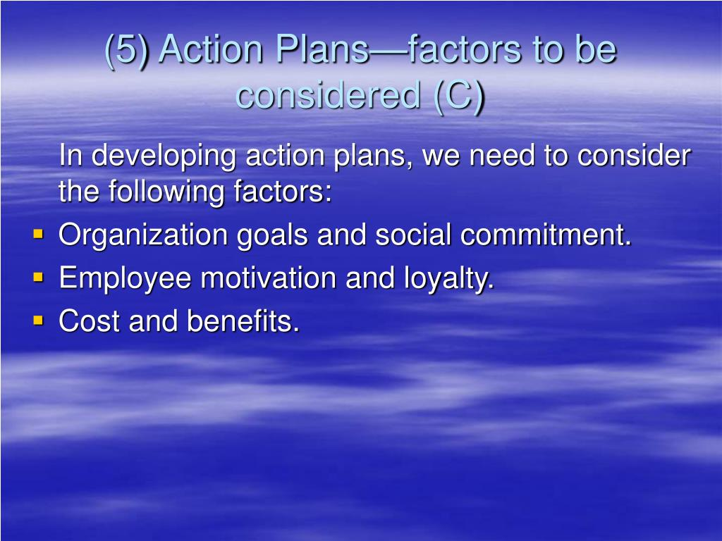 (5) Action Plans—factors to be considered (C)