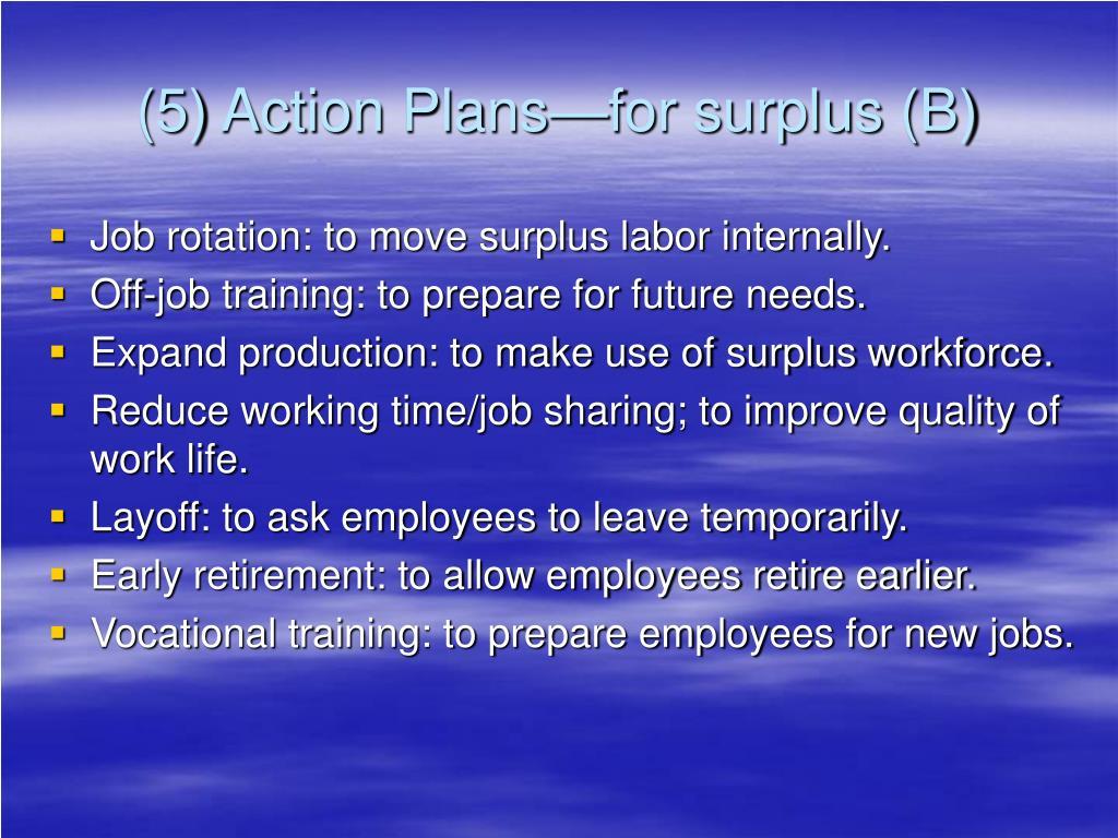 (5) Action Plans—for surplus (B)
