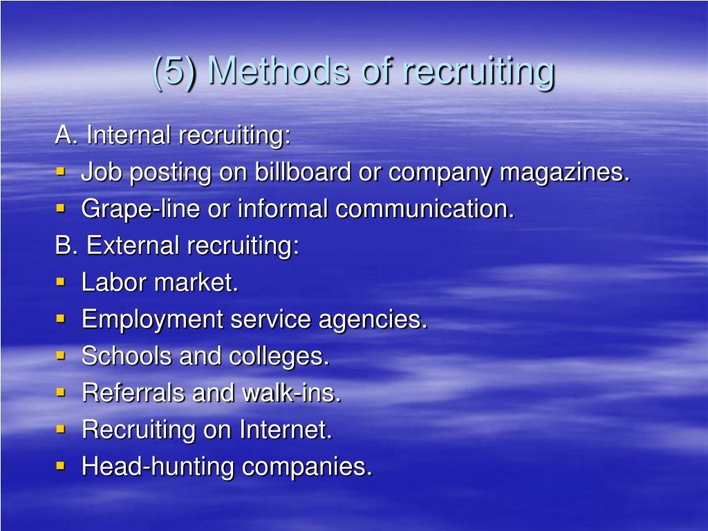 (5) Methods of recruiting
