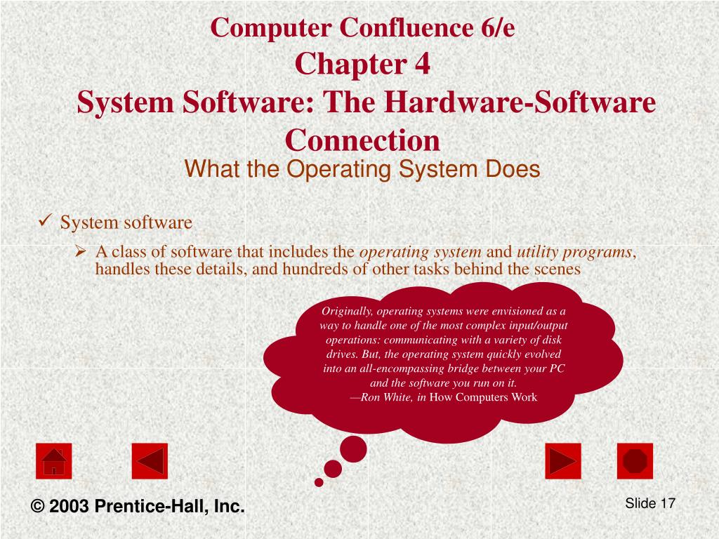 Originally, operating systems were envisioned as a way to handle one of the most complex input/output operations: communicating with a variety of disk drives. But, the operating system quickly evolved into an all-encompassing bridge between your PC and the software you run on it.