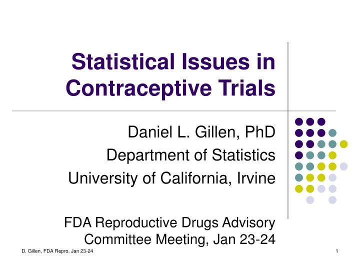 statistical issues in contraceptive trials n.