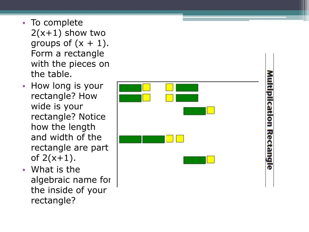 To complete 2(x+1) show two groups of (x + 1). Form a rectangle with the pieces on the table.