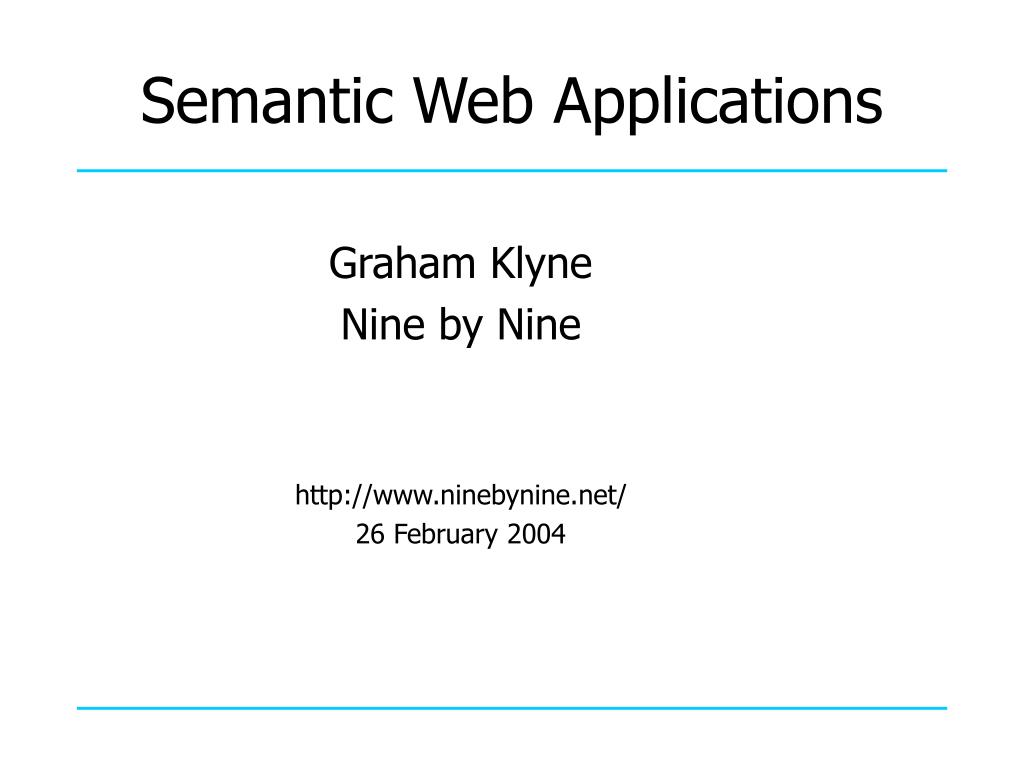 semantic web applications l.