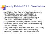 security related d p s dissertations