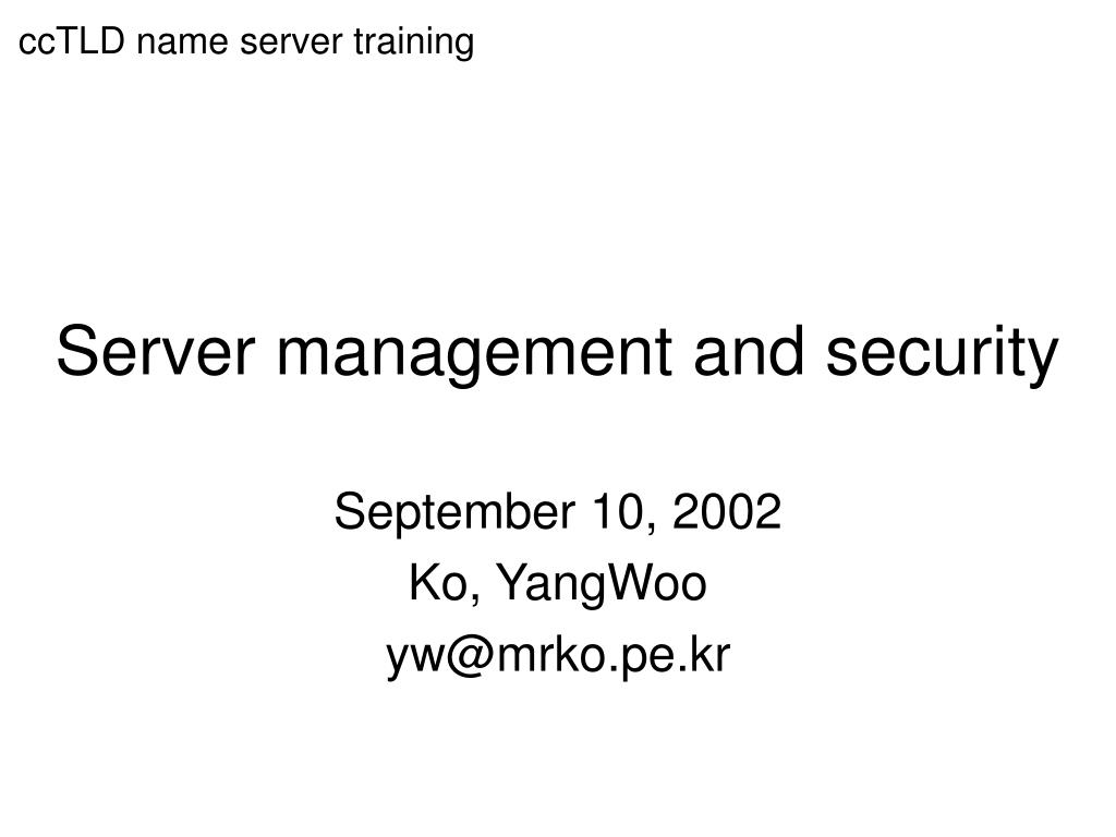 server management and security l.