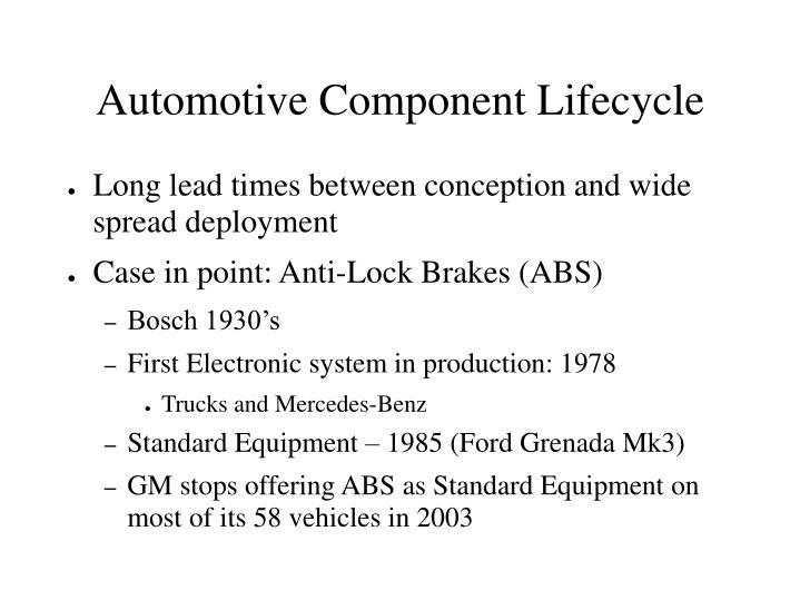 Automotive Component Lifecycle