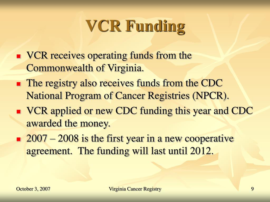 VCR Funding