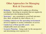 other approaches for managing risk uncertainty