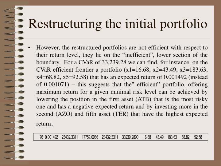 Restructuring the initial portfolio