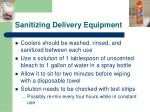 sanitizing delivery equipment